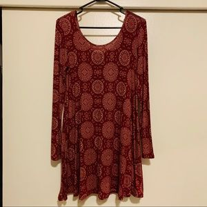 burgundy long sleeve boho dress